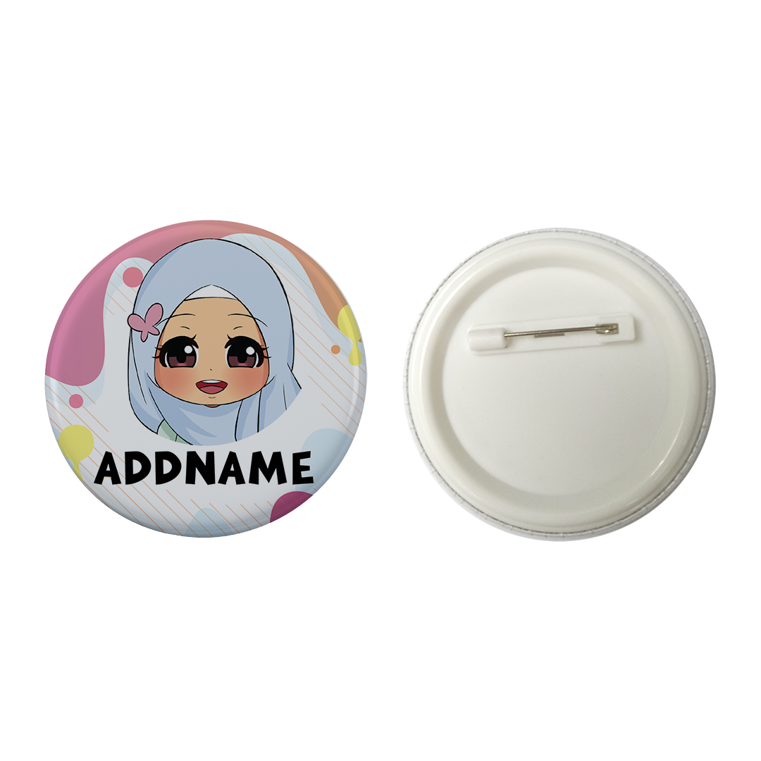 Children's Day Series Little Malay Girl Paint Background Addname Button Badge with Back Pin (58mm)