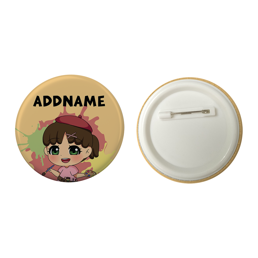 Children's Day Series Little Artist Girl Orange Splatter Background Addname Button Badge with Back Pin (58mm)