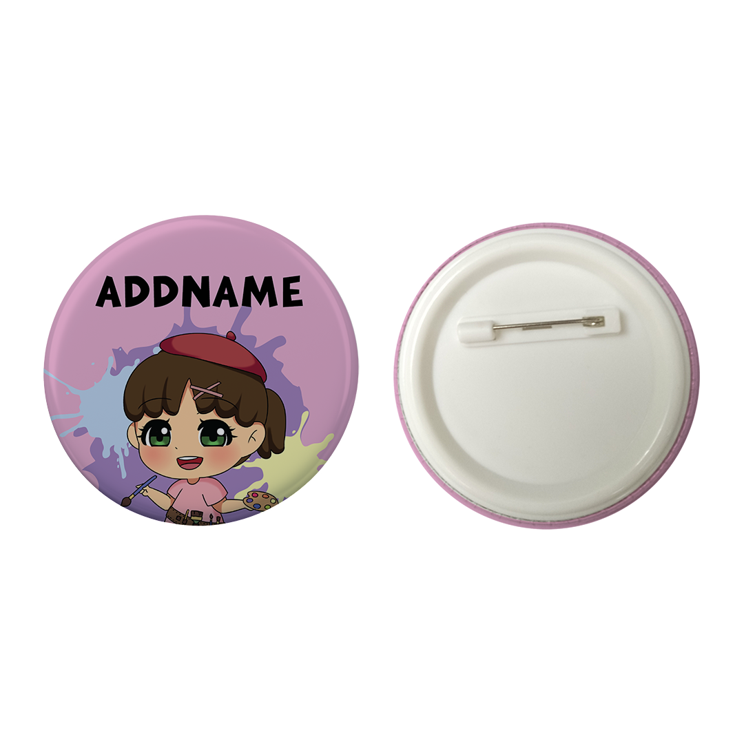Children's Day Series Little Artist Girl Pink Splatter Background Addname Button Badge with Back Pin (58mm)