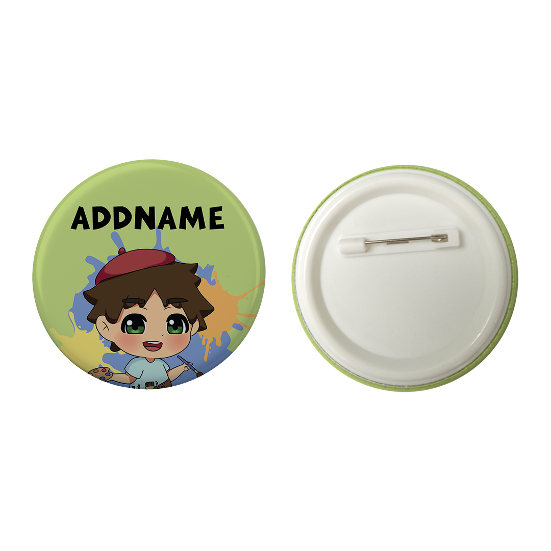 Children's Day Series Little Artist Boy Green Splatter Background Addname Button Badge with Back Pin (58mm)