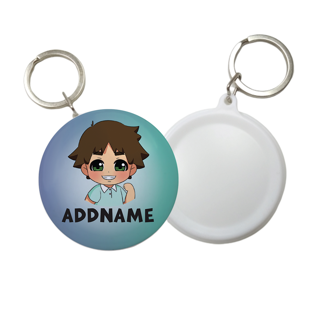 Children's Day Series Little Boy Gradient Background Addname Button Badge with Key Ring (58mm)