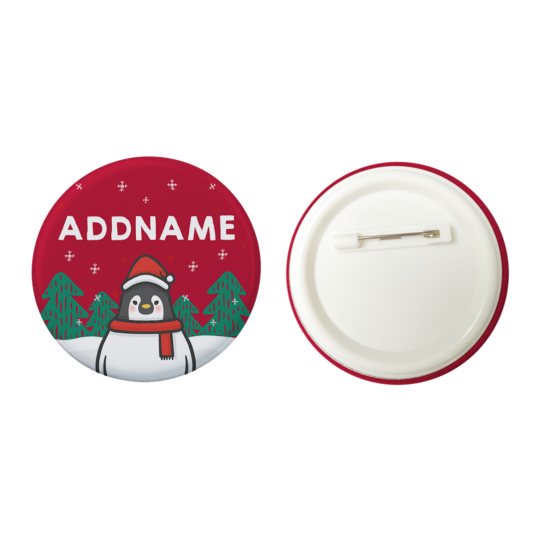 Xmas Cute Pengiun Christmas Hat Red Addname Button Badge with Back Pin (58mm)