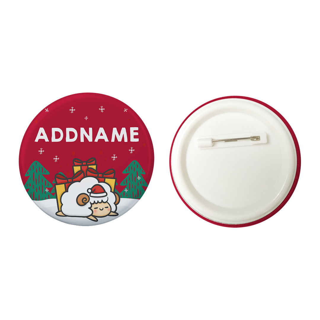 Xmas Cute Sleeping Sheep Red Addname Button Badge with Back Pin (58mm)