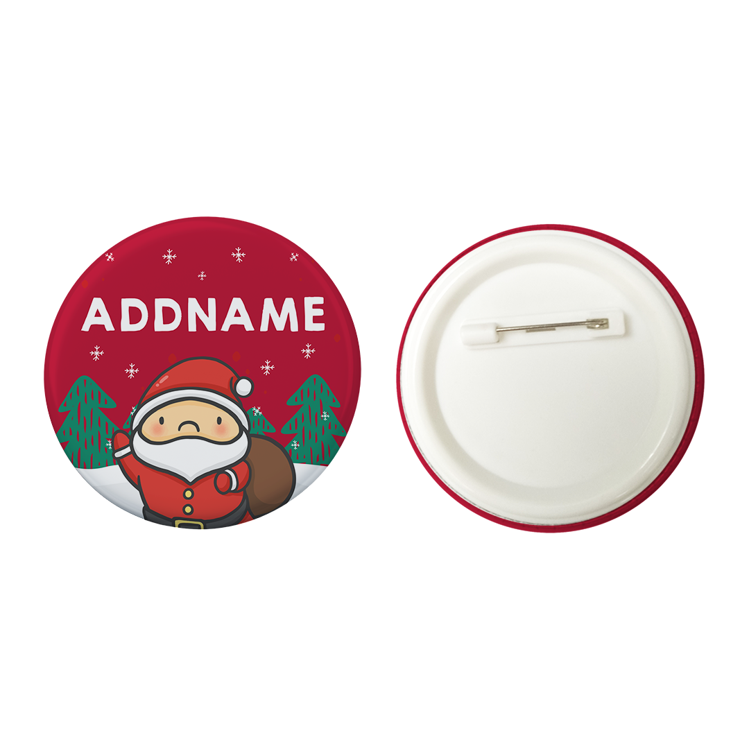 Xmas Cute Santa Addname Red Button Badge with Back Pin (58mm)
