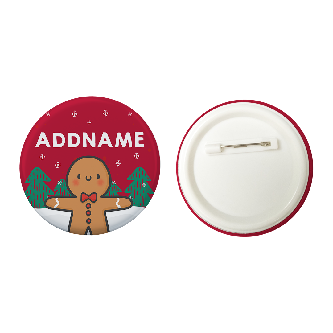 Xmas Cute Gingerbread Man Red Addname Button Badge with Back Pin (58mm)