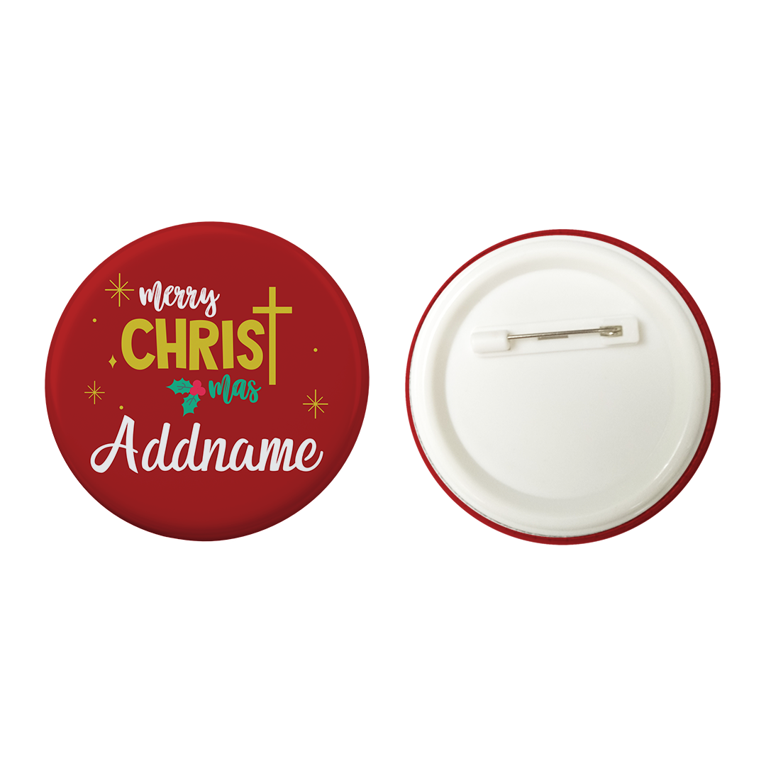 Xmas Merry Christmas with Cross Red Button Badge with Back Pin (58mm)