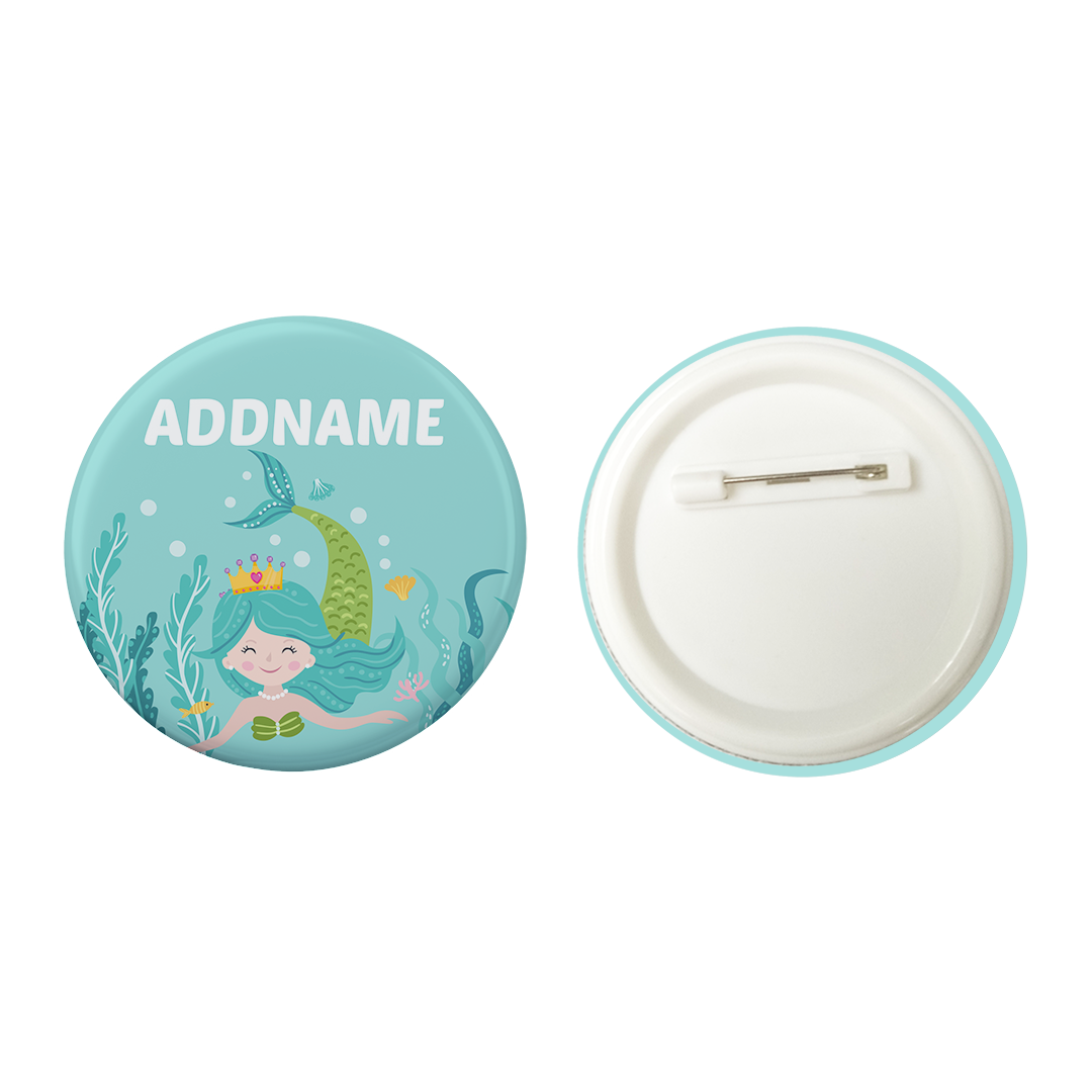 Beautiful Princess Mermaid Swimming Addname Button Badge with Back Pin (58mm)