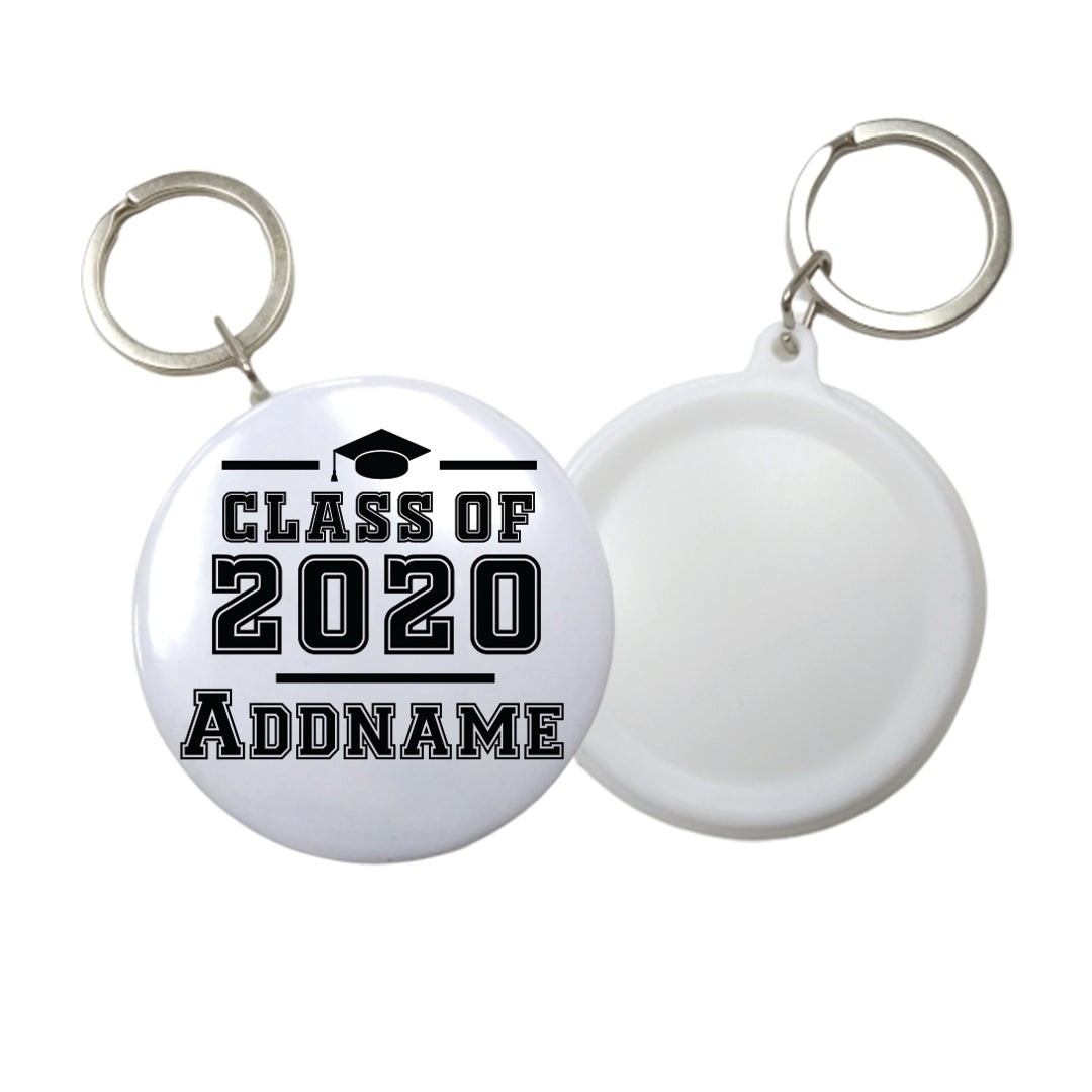 Graduation Series Simple Cap Class of Year Button Badge with Key Ring (58mm)