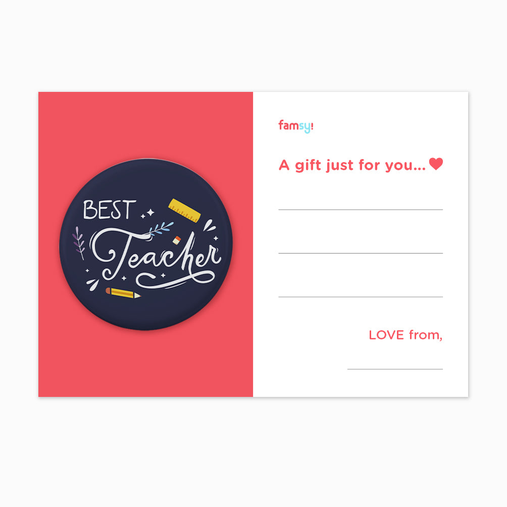 Teacher Day Gift Series - Best Teacher With Floral Elements Button Badge with Back Pin (58mm)