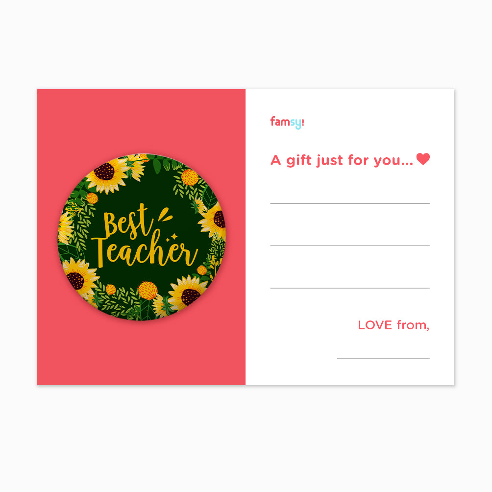 Teacher Day Gift Series - Best Teacher With Sunflower Emblem Button Badge with Back Pin (58mm)