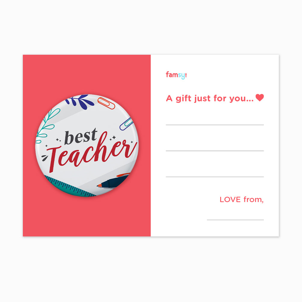 Teacher Day Gift Series - Best Teacher With Elements Button Badge with Back Pin (58mm)