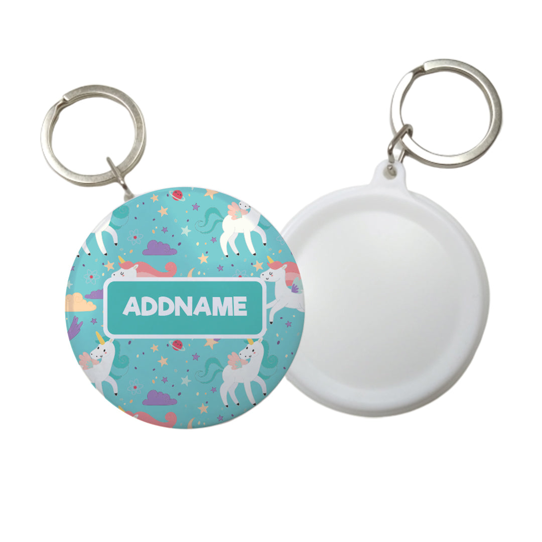 Fabulous Unicorn Personalised Badge Keyring (58mm)