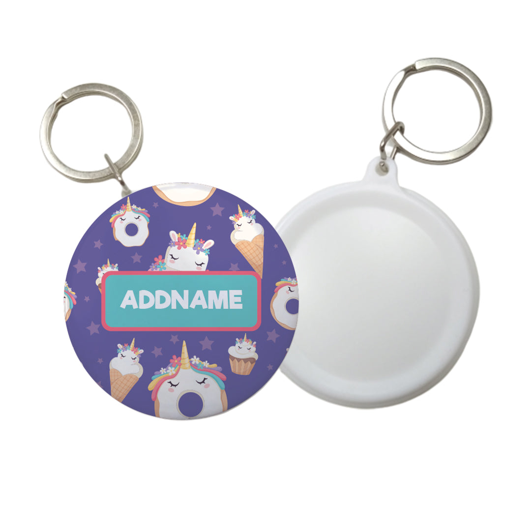 Unicorn with Donut  Personalised Badge Keyring (58mm)