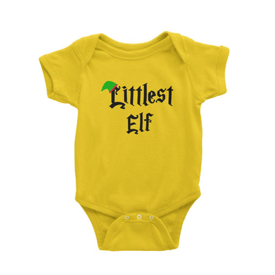 Littlest Elf With Hat Baby Romper Christmas Matching Family