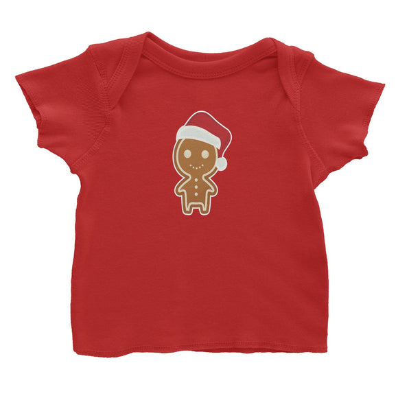 Cute Gingerbread Man with Santa Hat Baby T-Shirt Christmas Matching Family Funny