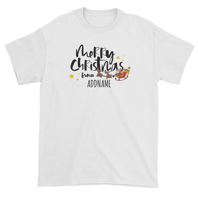 Cute Santa's Sleigh Merry Christmas Greeting Addname Unisex T-Shirt  Personalizable Designs Matching Family