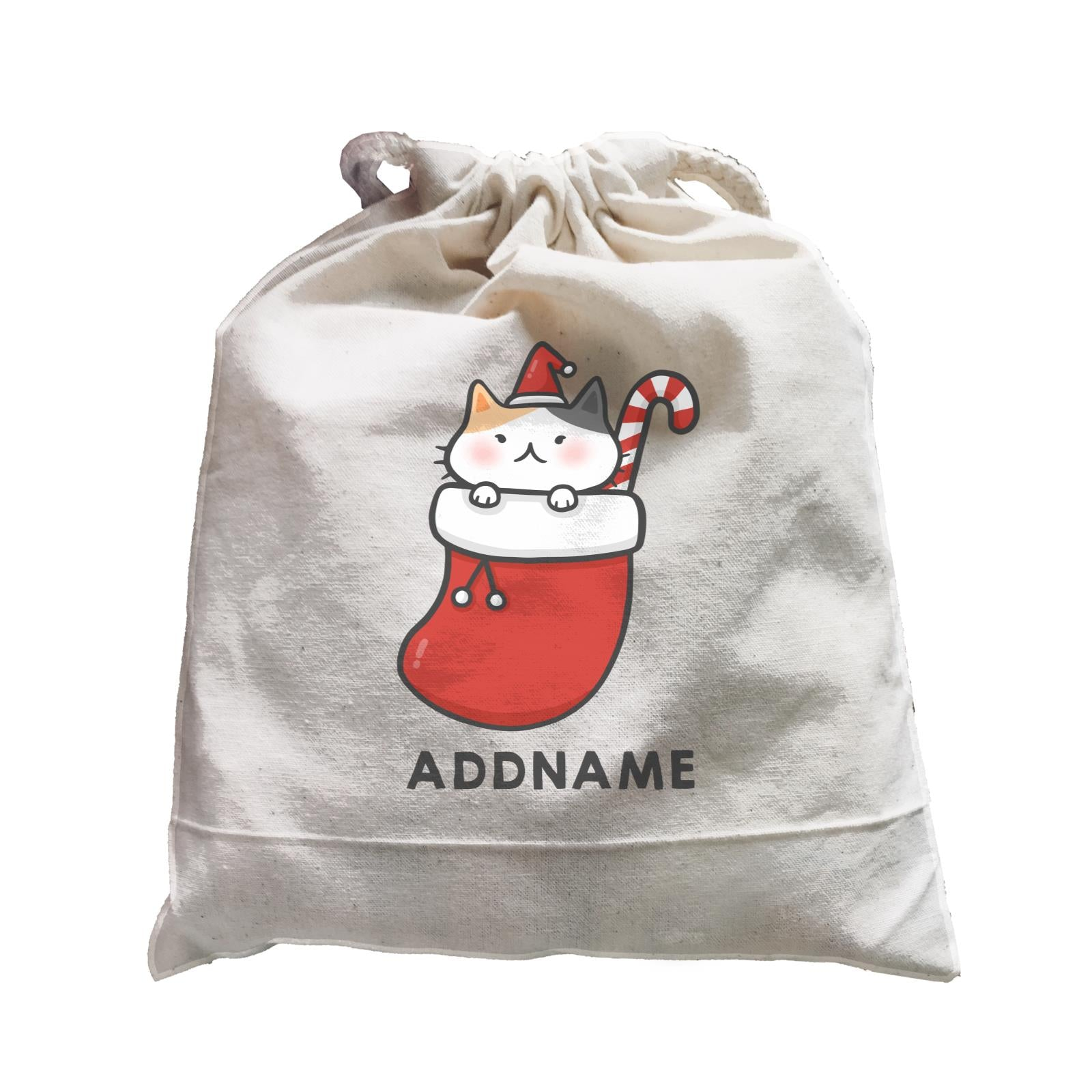 Xmas Cute Cat In Christmas Sock Addname Accessories Satchel