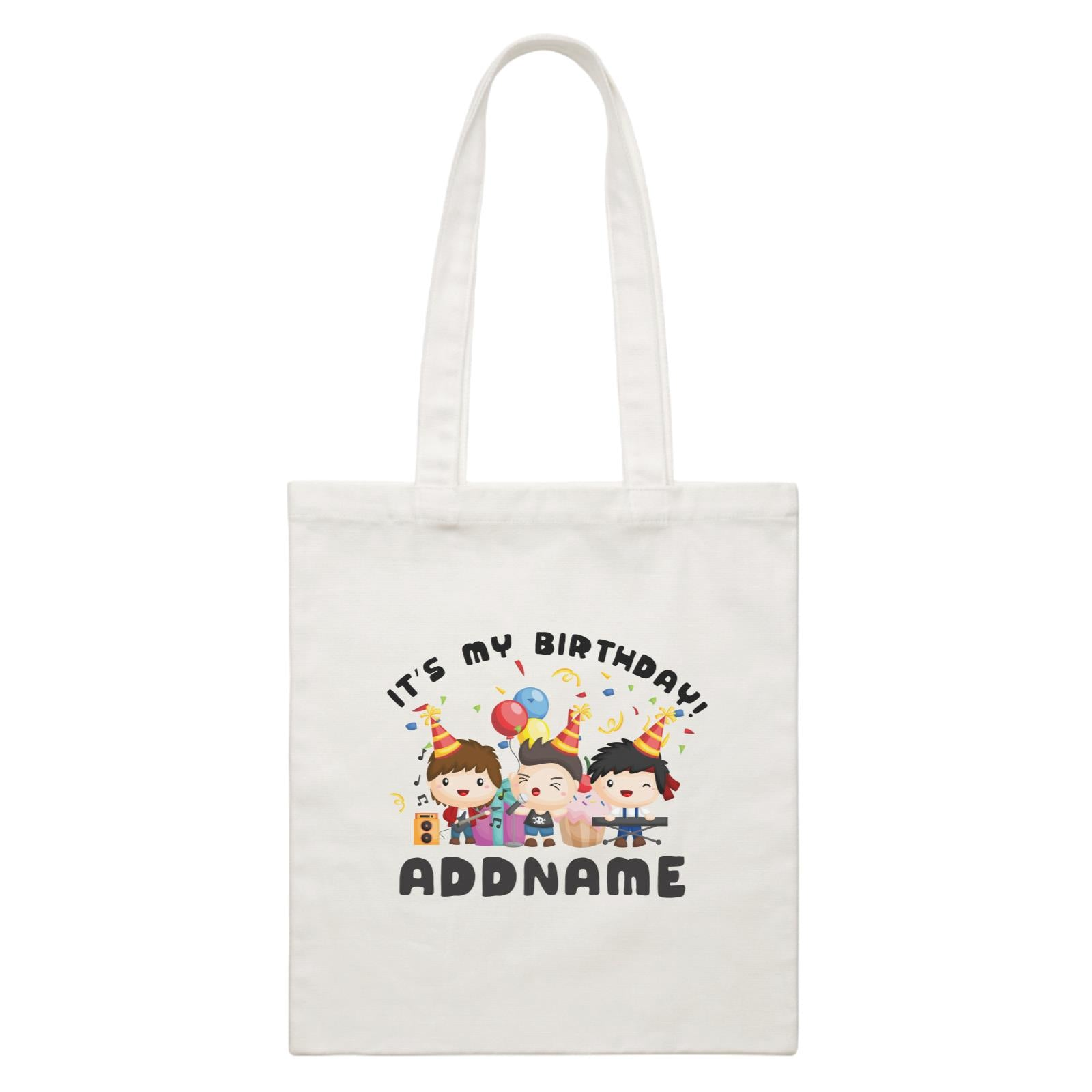 Birthday Music Band Boy Group It's My Bitrhday Addname White Canvas Bag