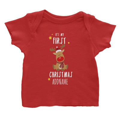 Cute Rudolph First Christmas Addname Baby T-Shirt  Personalizable Designs Animal