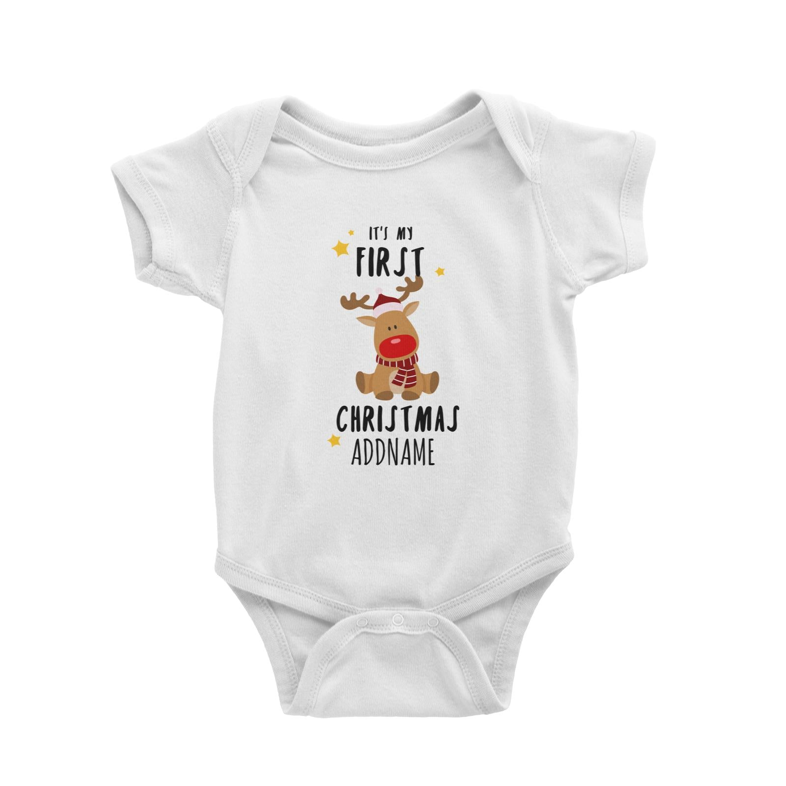 Cute Rudolph First Christmas Addname Baby Romper  Personalizable Designs Animal