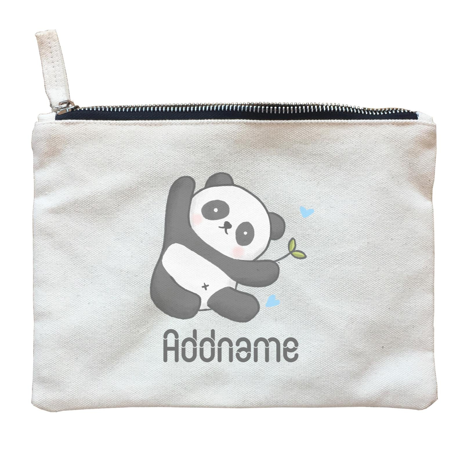 Cute Hand Drawn Style Panda Addname Zipper Pouch