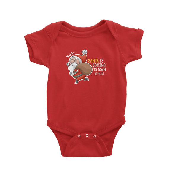 Santa Is Coming To Town Addname Baby Romper Christmas Matching Family Personalizable Designs Cute