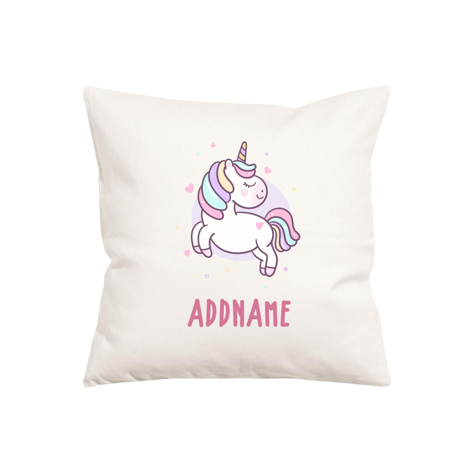Unicorn And Princess Series Pastel Unicorn Addname Pillow Cushion