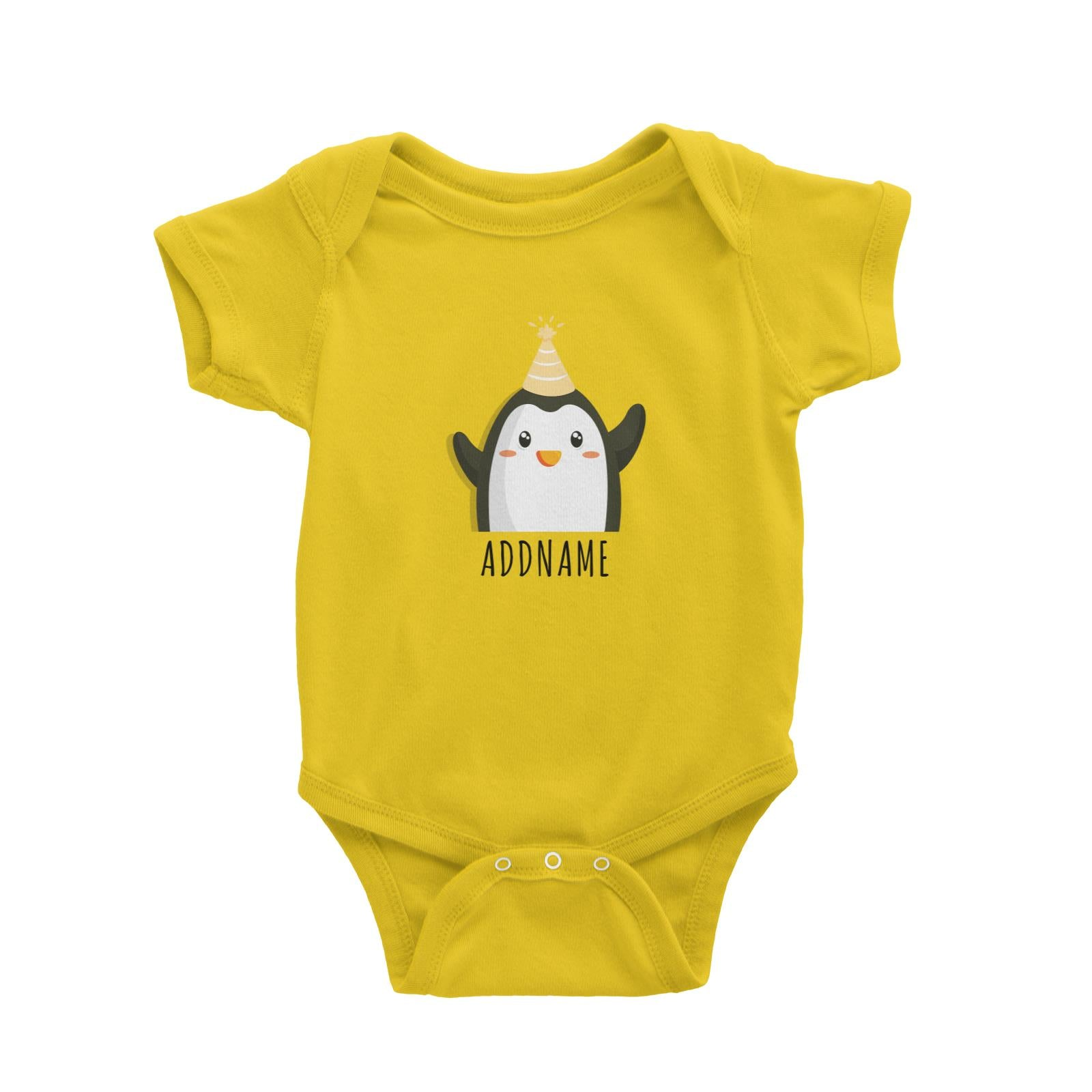 Birthday Cute Penguin Wearing Party Hat Addname Baby Romper
