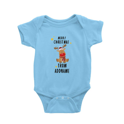 Cute Rudolph Merry Christmas Greeting Addname Baby Romper  Animal Personalizable Designs Matching Family