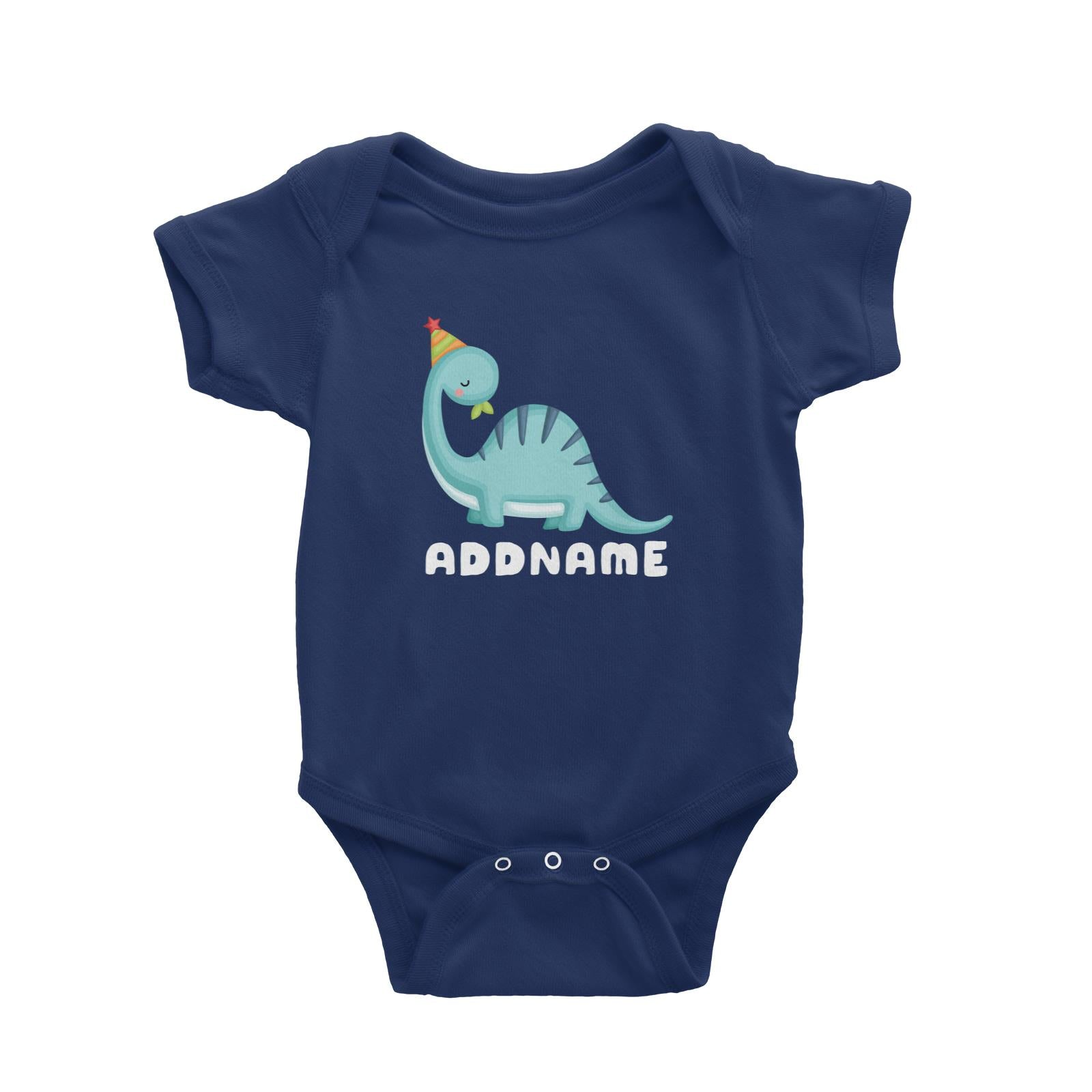 Birthday Dinosaur Happy Blue Long Neck With Party Hat Addname Baby Romper