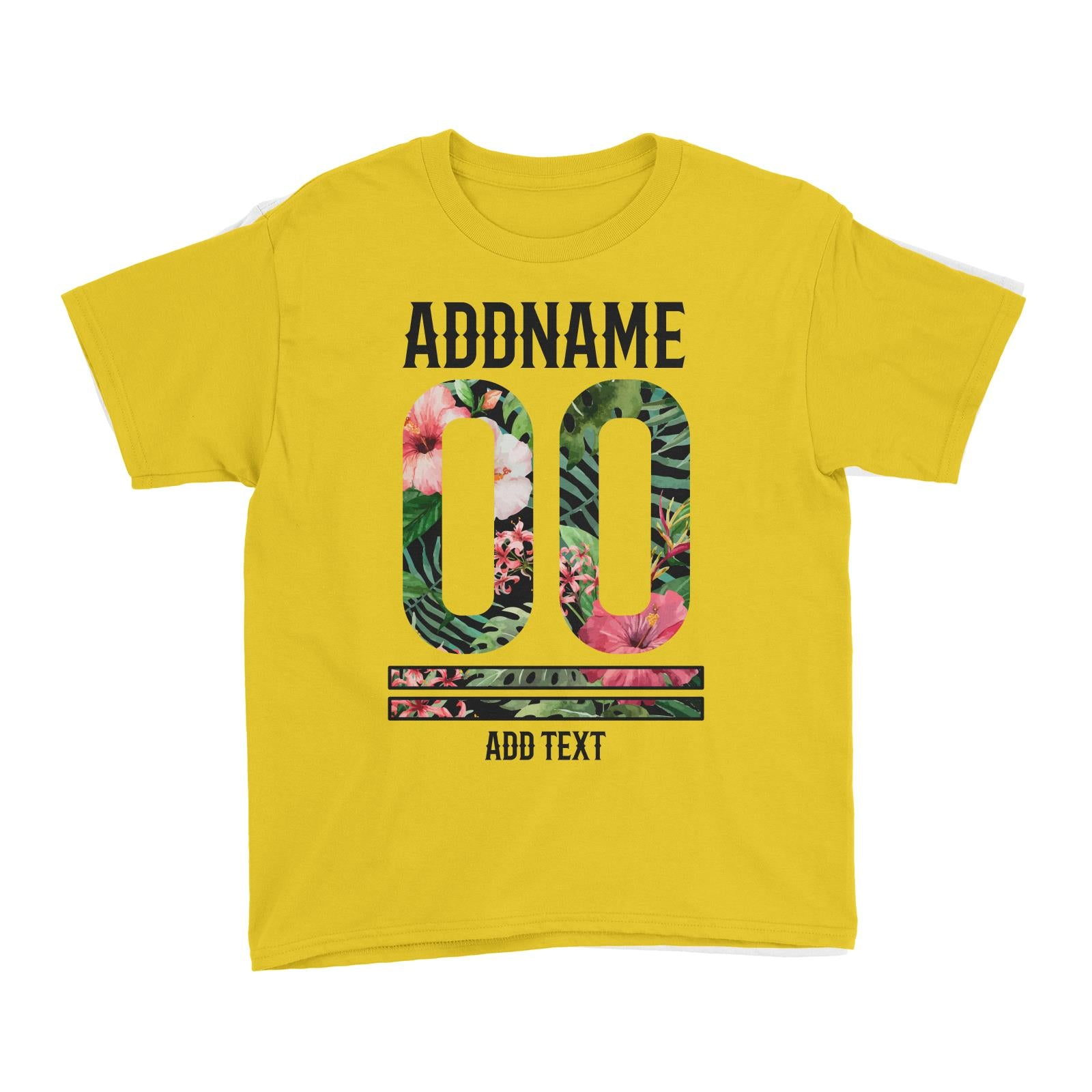 Tropical Leaves With Bunga Raya Personalizable with Name Number and Text Kid's T-Shirt