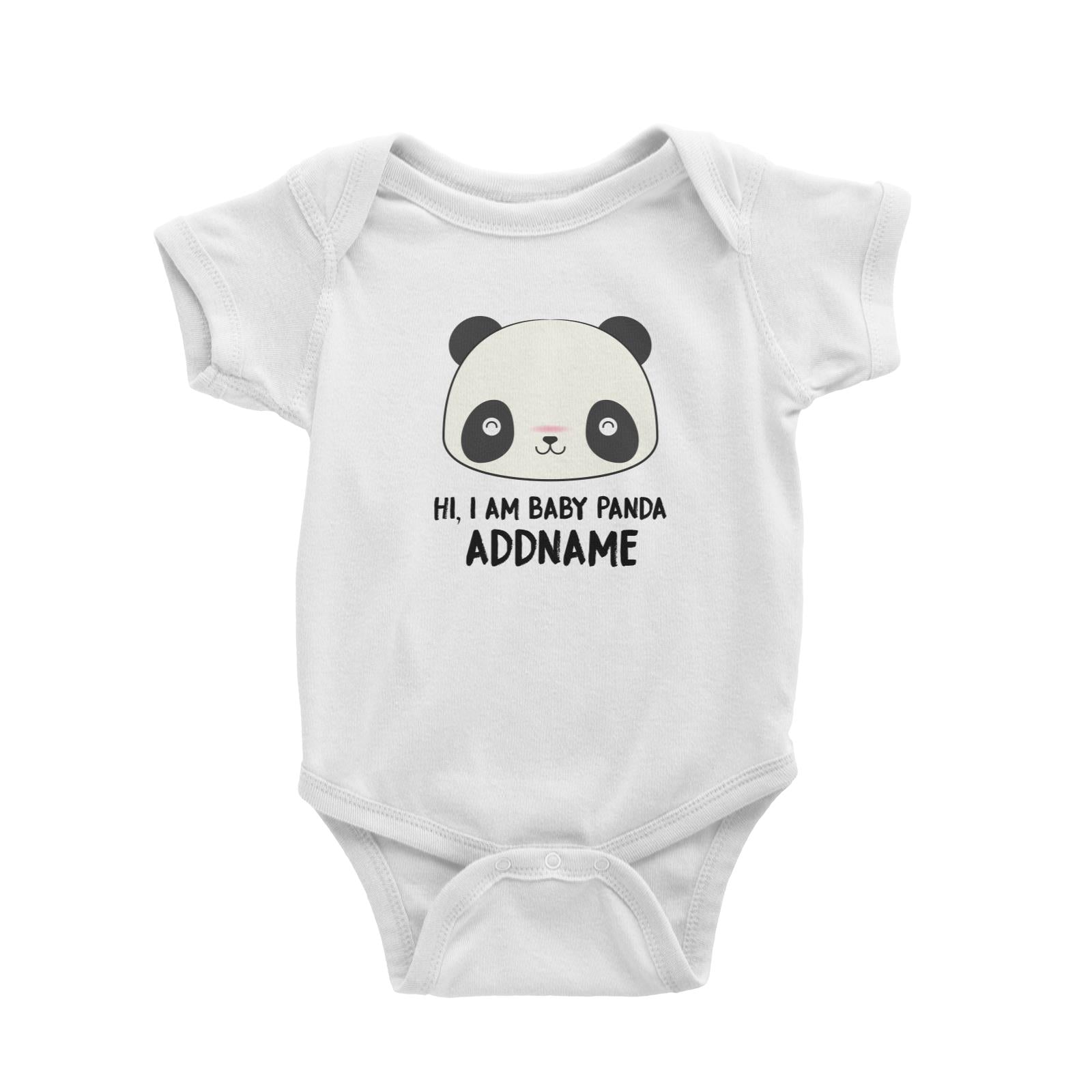 Babywears.my Hi I Am Baby Panda Face with Addname T-Shirt Personalizable Designs Newborn Animal Cute