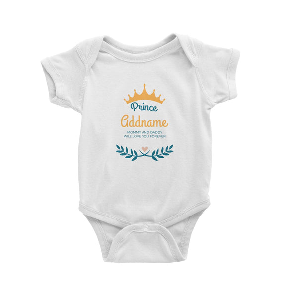 Prince with Crown and Blue Leaves Personalizable with Name and Text Baby Romper