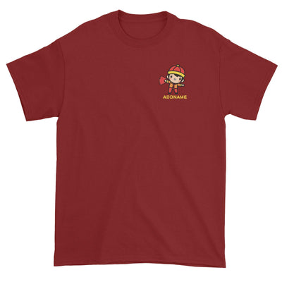 Prosperity CNY Boy with Red Packets Pocket Design Unisex T-Shirt