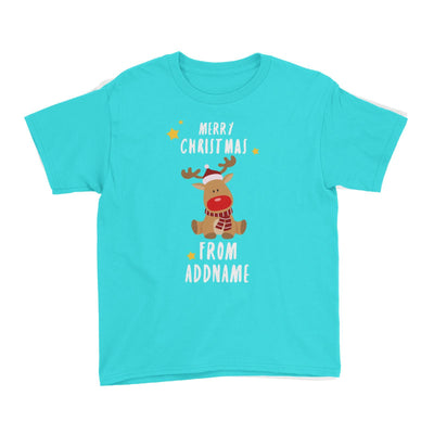 Cute Rudolph Merry Christmas Greeting Addname Kid's T-Shirt  Animal Personalizable Designs Matching Family