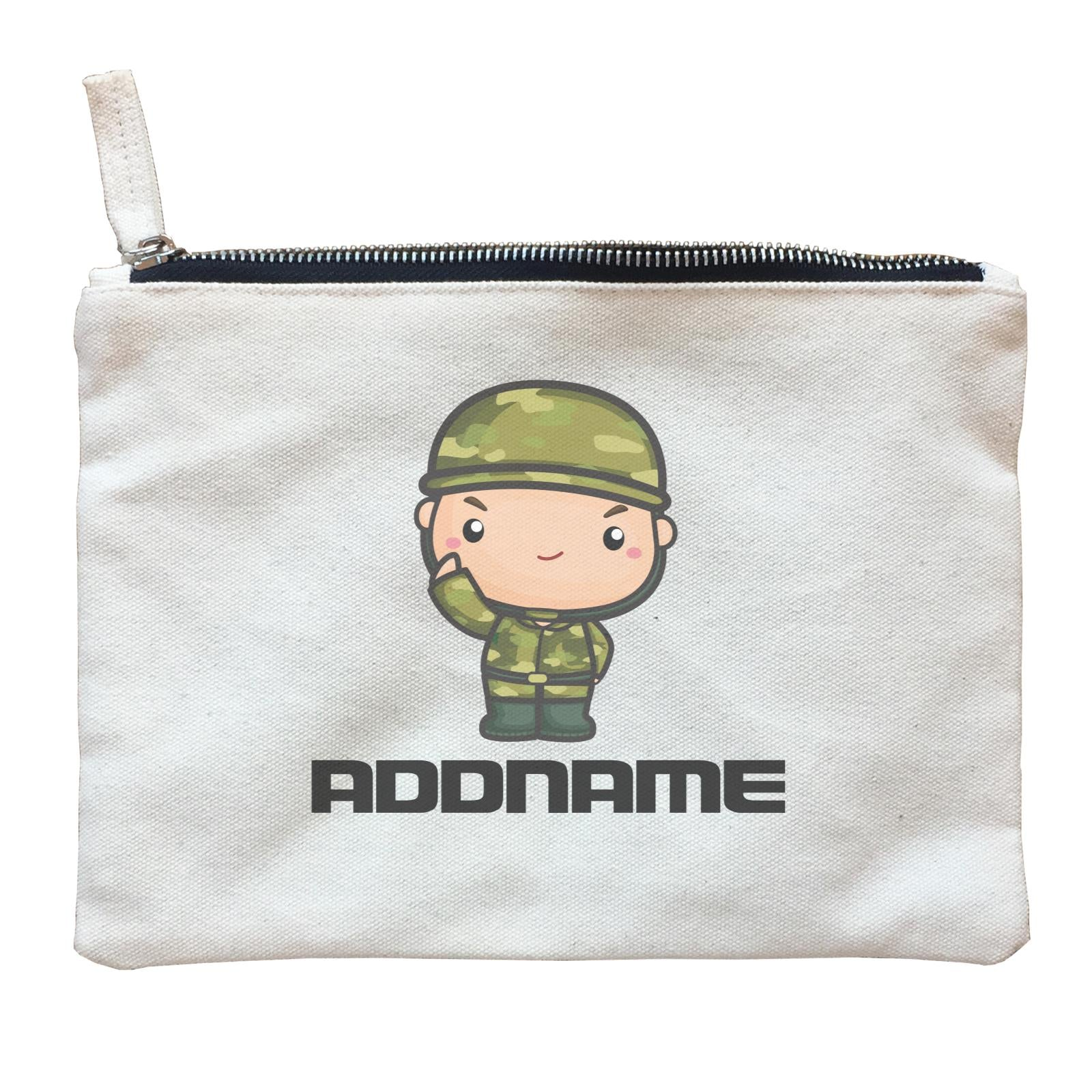 Birthday Battle Theme Army Soldier Boy Addname Zipper Pouch