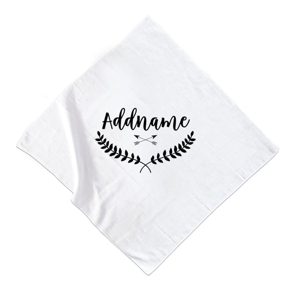 Monochrome Leave Crown and Arrows Addname Muslin Muslin Square