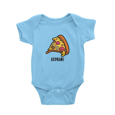 Fast Food Pizza Slice Addname Baby Romper  Matching Family Comic Cartoon Personalizable Designs