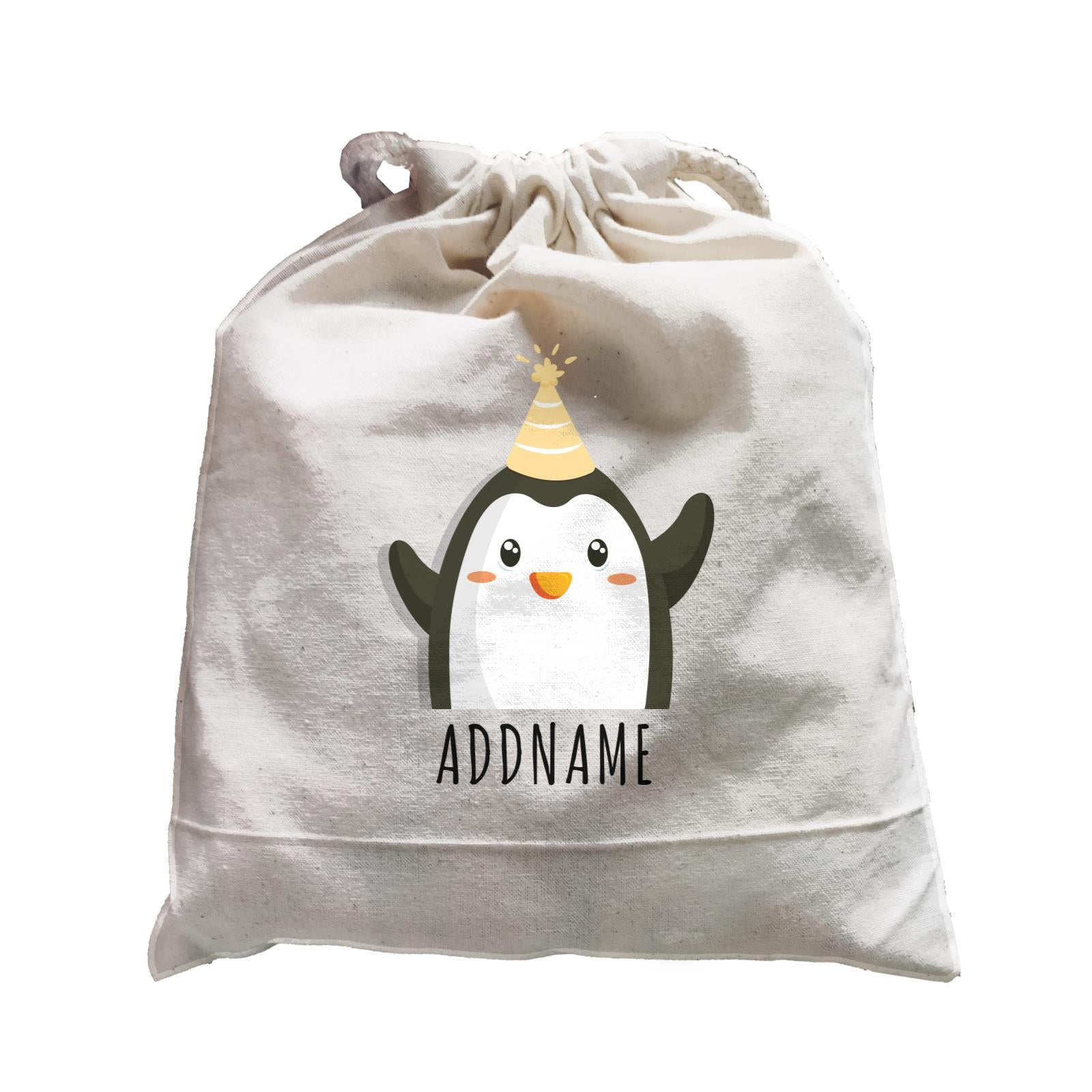 Birthday Cute Penguin Wearing Party Hat Addname Satchel