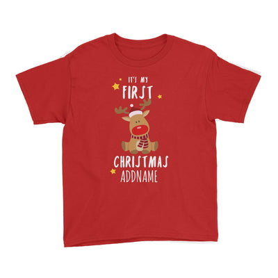 Cute Rudolph First Christmas Addname Kid's T-Shirt  Personalizable Designs Animal