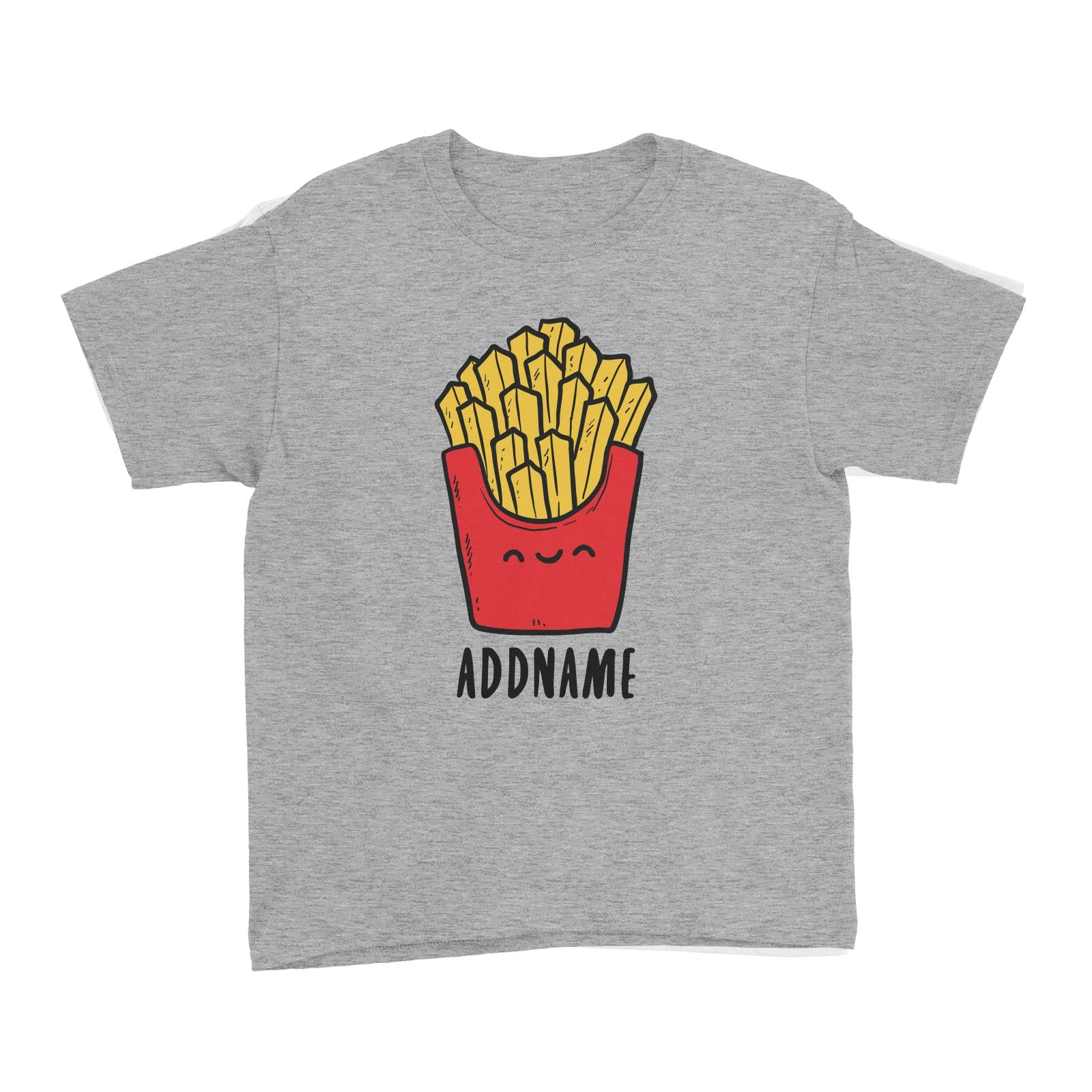 Fast Food Fries Addname Kid's T-Shirt  Matching Family Comic Cartoon Personalizable Designs