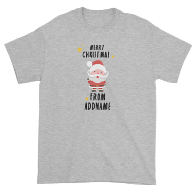 Cute Santa Merry Christmas Greeting Addname Unisex T-Shirt  Personalizable Designs Matching Family