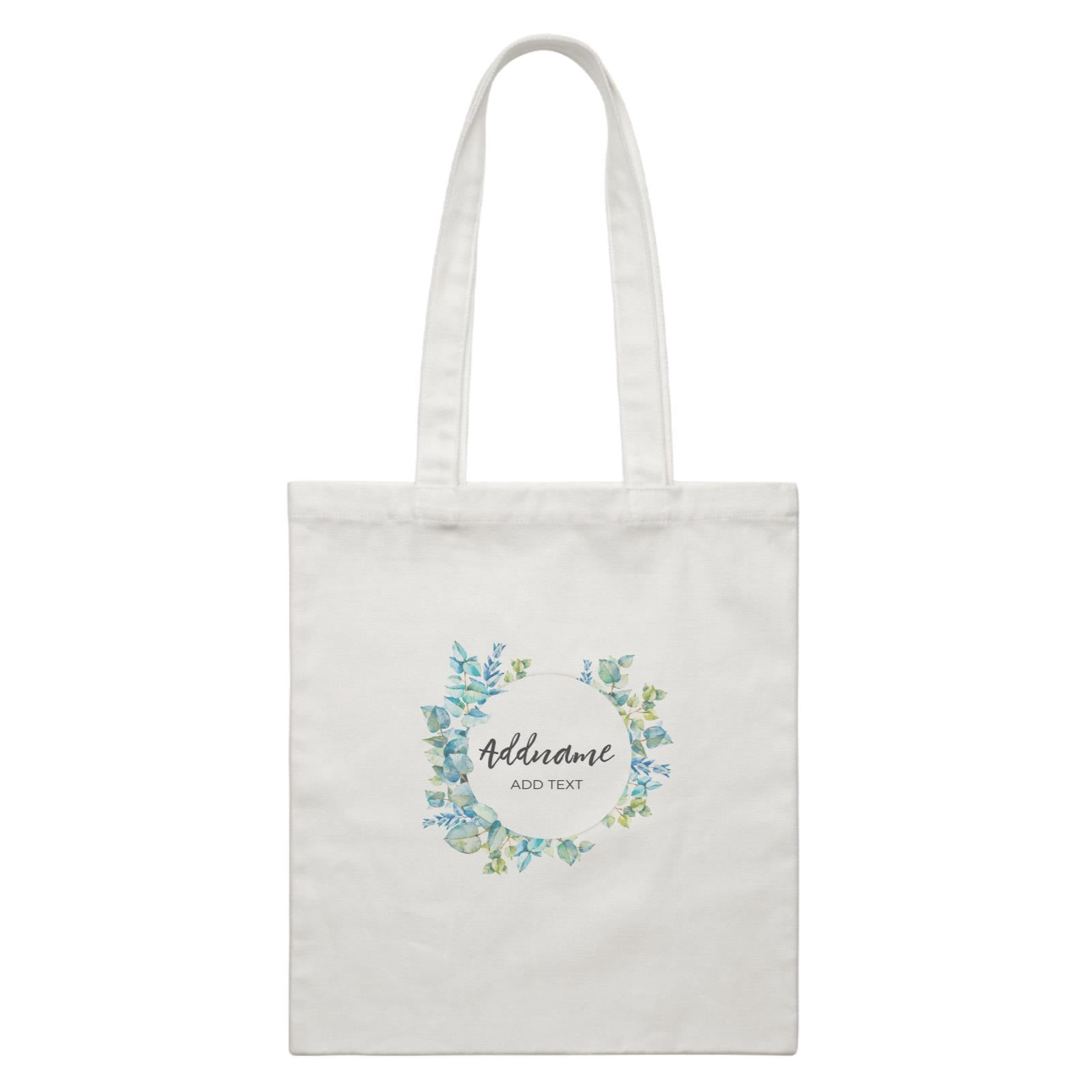 Add Your Own Text Teacher Blue Leaves Wreath Addname And Add Text White Canvas Bag