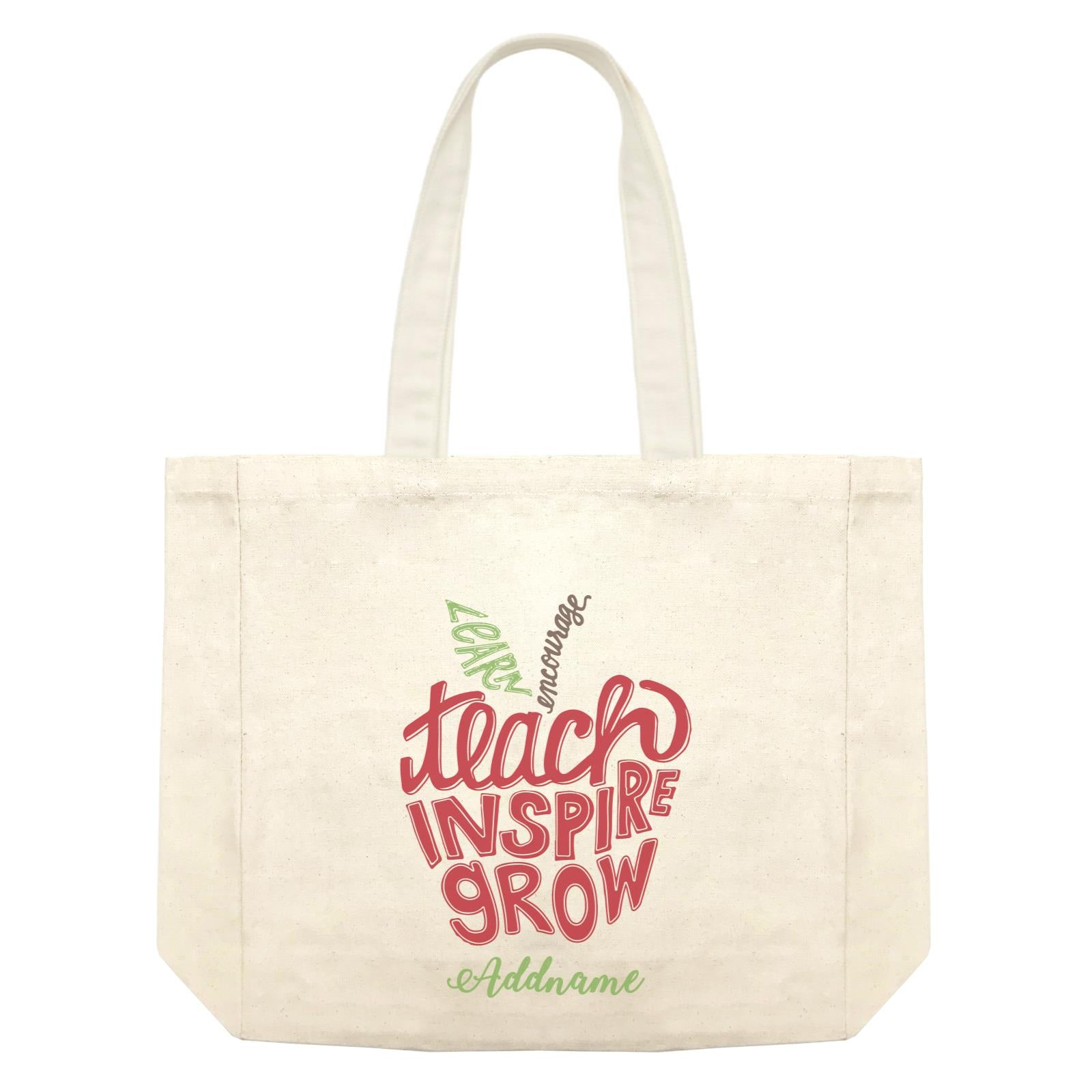 Teacher Apple Learn Encourage Teacher Inspire Grow Addname Shopping Bag