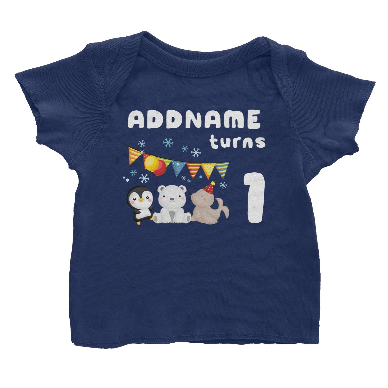 Birthday Winter Animals Penguin Polar Bear And Seal Party Addname Turns 1 Baby T-Shirt