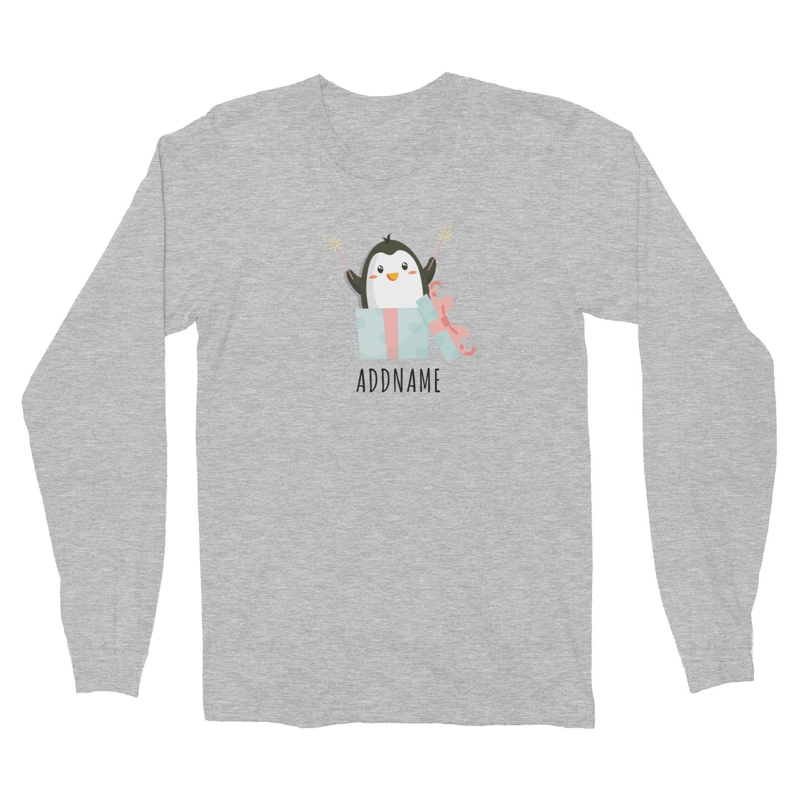 Birthday Cute Penguin Taking Fireworks In Present Box Addname Long Sleeve Unisex T-Shirt