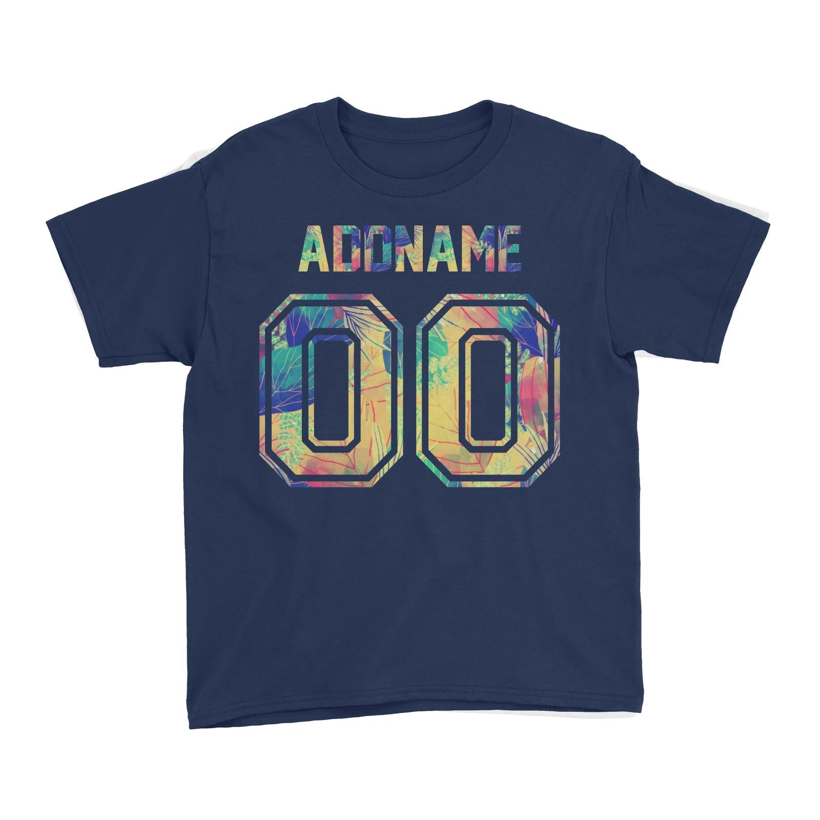 Jersey Colourful Nature Pattern With Name and Number Kid's T-Shirt