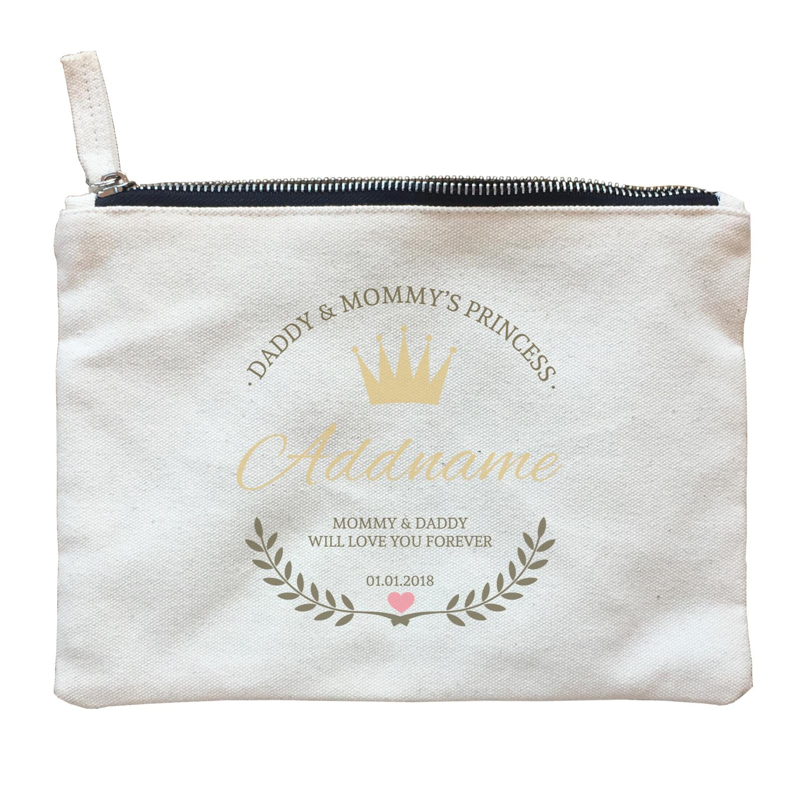 Daddy and Mommy's Princess with Tiara Wreath Personazliable with Name Text and Date Zipper Pouch