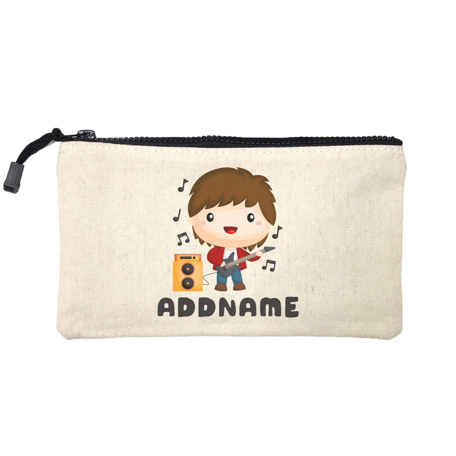 Birthday Music Band Boy Playing Bass Addname Mini Accessories Stationery Pouch
