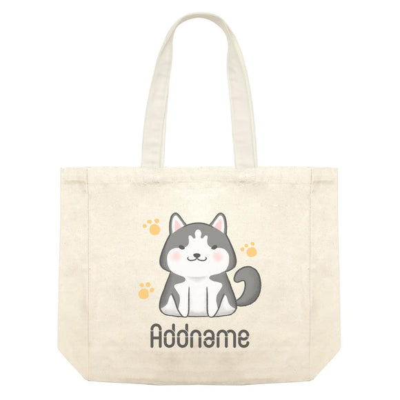 Cute Hand Drawn Style Husky Addname Shopping Bag